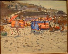 Ken Howard 1 This is a view of Sennen Beach in Cornwall. I think I bought this from the Alton Gallery in Barnes (Although it may have been from Brian Sinfield in Burford) in the late 1980's or early 90's. At that time Ken painted a lot of beach scenes often characterised by having wind breaks with sunlight coming through them.