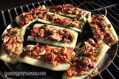 Stuffed fresh zuchini on The Pampered Chef pizza grilling pan!