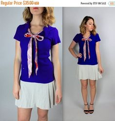 MEMORIAL DAY SALE 60's knit Purple pussy bow Drop Waist by FOXCROW