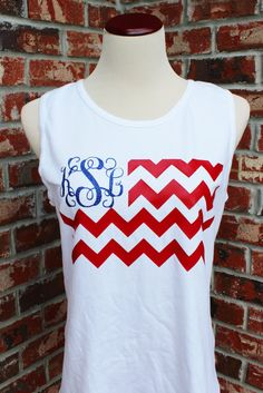Fourth of July Tank Heat Press Vinyl Monogram by DashForward