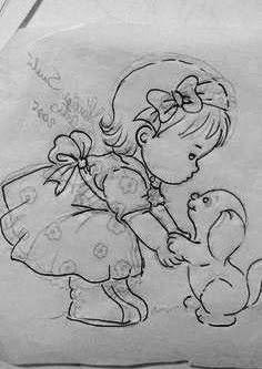 desenho ruth morehead menina com cachorrinho