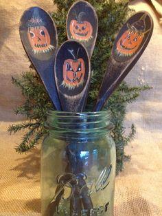 Primitive Halloween Pumpkin Black Wood Spoons Jar Fillers Folk Art Pumpkins