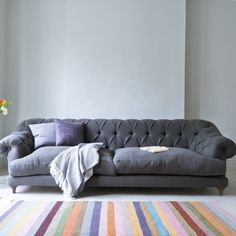 Extra large Bagsie chesterfield sofa in Granite grey vintage linen