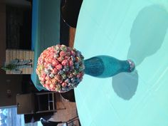 """Centerpieces for a boys baby shower :) """"ready to pop theme"""""""