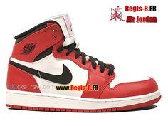 competitive price 0a0b5 4ec9c Nike Air Jordan 1 Retro High GS - Chaussures Basket Jordan Pas Cher Pour  Femme Enfant BLANC VARSITÉ ROUGE-NOIR 332558-163