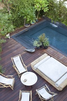 Small Pool for Backyard . Small Pool for Backyard . Small Pools, Plunge Pool, Wooden Decks, Wooden Terrace, Wooden Pool Deck, Deck Patio, Beautiful Pools, Beautiful Dream, Outdoor Swimming Pool