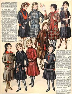 A wonderful variety of girls' dresses from the Fall 1915 Sears catalog.