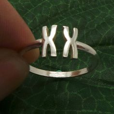 Silver XX Female Chromosome Ring  - Science Chemistry Biology DNA Ring - Statement Geek Fashion Jewelry