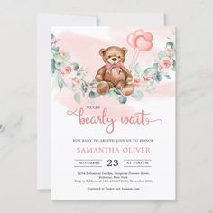 Teddy Bear Eucalyptus Wreath Girl Baby Shower Invitation Unique Baby Shower Themes, Baby Girl Shower Themes, Baby Shower Invites For Girl, Baby Shower Invitation Cards, Baby Shower Decorations, Baby Teddy Bear, Teddy Bear Baby Shower, Teddy Bear Centerpieces, Pink Balloons