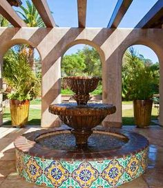 Mosaic fountains ceramic tiles stone tiles mosaic for Mexican style outdoor fountains
