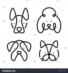 dog logo Set of pets. Vector art line style. Collection cat and dogs. Simple design of animals isolated on white background. Flat logo of bulldog, poodle, sheepdog. Flat Logo, Dog Line Art, Dog Art, Poodle Tattoo, Cat Tattoo, Dog Vector, Vector Art, Cat Origami, Cat Outline Images