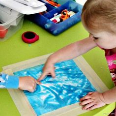 Mess Free Finger Painting! Put it in a Ziploc bag, tape it down. No mess activity, and no risk of her eating paint :)