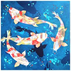 Koi by Gail Dell in blue... See more art at www.artinvesta.com