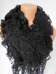 Black Knitted Shawl Scarf, Neck Wrap,Fall Winter Scarf, Neck Warmer,Winter Accessories, Fall Fashion, Holiday Accossories,Christmas Gift