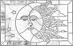Free Printable Stained Glass Patterns Sun and Moon Beginner Mosaic Patterns Coloring Pages stained glass pattern of sun and moon with stars and clouds - kool pattern for plate carving maybe just the half sun in plain circle. Free Mosaic Patterns, Stained Glass Patterns Free, Stained Glass Quilt, Faux Stained Glass, Stained Glass Designs, Stained Glass Panels, Stained Glass Projects, Wood Patterns, Glass Painting Patterns