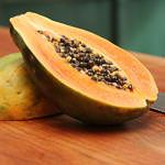 Facts About Papaya    • Nutritional value (1/2 medium): 59 calories, 3 g fibre, source of folate, vitamins A and C  • Disease-fighting factor: Papayas contain papain, an enzyme that aids digestion. Plus, their high vitamin A content aids in maintaining the health of the skin.           Source: http://www.canadianliving.com/health/nutrition/top_25_healthy_fruits_blueberries_apples_cherries_bananas_and_21_more_healthy_picks_4.php