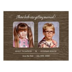 """Childhood Photos Save the Date Invitation Childhood Photos Save the Date with a warm gray design. Upload your old childhood photos and add your text. The text reads: """"These kids are getting married! Save The Date Invitations, Save The Date Postcards, Save The Date Magnets, Save The Date Cards, Wedding Invitations, Custom Postcards, Invites, Ideias Para Save The Date, Safe The Date Karten"""