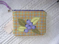 FREE SHIPPING      Blueberries applique wool felt  by Linohandmade, $45.00