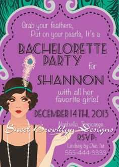 Vintage Retro Flapper Birthday Invitation by SweetBrooklynDesigns, $10.00