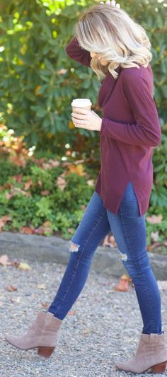Burgundy Sweater Fall Streestyle Inspo by A spoonful of Style