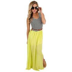 Sunset Stripes Maxi Lime   Impressions Online Women's Clothing Boutique  This vibrant maxi is the perfect addition to your tropical vacation wardrobe! Pair it with pretty heels and bold jewelry for a look perfect for watching a beach sunset!