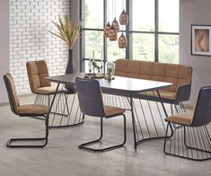 Beautiful BOSTON Vintage Industrial Glass Top in Concrete Effect Metal Legs Dining Table Dining Furniture Sets from top store Metal Leg Dining Table, Table And Bench Set, Dining Bench, Dining Chairs, Dining Furniture Sets, Furniture Styles, Outdoor Furniture Sets, Furniture Design, Outdoor Decor