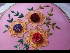 Hand embroidery Designs   Cast on flower design - YouTube