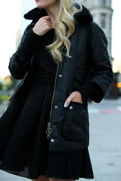 Coat: Barbour 'Snow Bedale Puffer'. Skirt: Maje. Shoes: Christian Louboutin. Shirt: ATM.