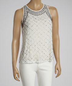 Love this White & Silver Beaded Sleeveless Top by Black Collection on #zulily! #zulilyfinds