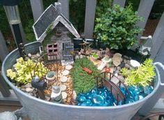 One of my fairy gardens. Fairy Gardening, Fairies Garden, Fairy Garden Houses, Cute Fairy, Mini Gardens, Enchanted Garden, Fairy Land, Rivers, Wonderland