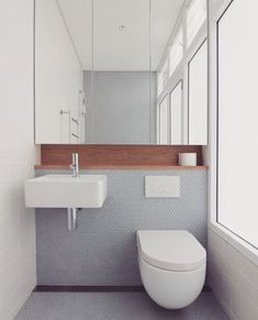 for pin: spare/powder room - tiles/wood acc. -Reason for pin: spare/powder room - tiles/wood acc. - Small apartment comes packed with storage solutions - Curbedclockmenumore-arrow : A lot of design details in 236 square feet Sosnovaya Bathroom Toilets, Bathroom Renos, Laundry In Bathroom, Bathroom Renovations, Bathroom Grey, Remodel Bathroom, Bathroom Makeovers, House Renovations, Shower Remodel