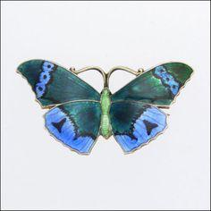 JA&S Silver Enamel Butterfly Brooch/Pin -