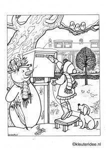 Kleurplaat thema winter, kleuteridee, Preschool winter coloring, free printable