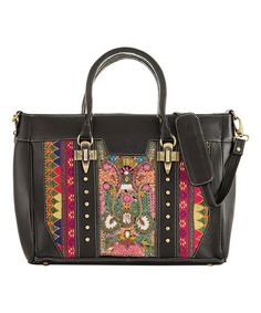 Love this Black & Green Hand-Embroidered Beaded Leather Tote on #zulily! #zulilyfinds