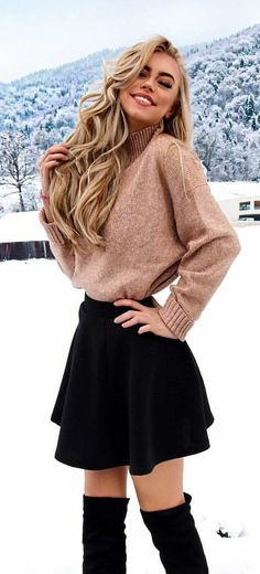 54 trendy winter outfits to help you improve your winter style . - 54 trendy winter outfits to help you improve your winter style 54 trendy winte - Cute Skirt Outfits, Komplette Outfits, Cute Fall Outfits, Winter Fashion Outfits, Cute Skirts, Cute Fashion, Outfits For Teens, Look Fashion, Stylish Outfits