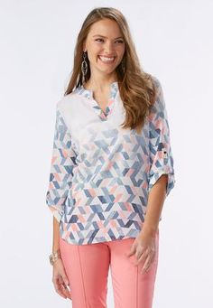 c9b32f80f Cato Fashions Gradient Geo Popover Top #CatoFashions Plus Size Women's Tops,  Classy Outfits,