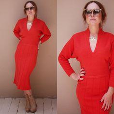 Vtg 60s Kims by Kimberly Red Knit Bat Wing Dress Mod Retro 50s 70s V Neck | eBay