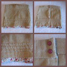 Make a doll skirt from the end of a sleeve.