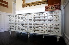 Old Junk into Beauty - The Lentine Family Card Catalog gets an Elegant new Life! [Click here http://pinterest.com/pin/175218241724695921/ to see a second one they made and only stained.]
