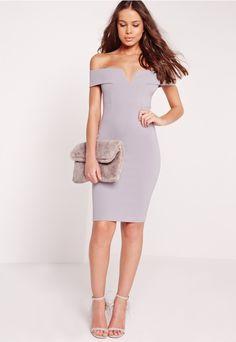 e91689b021 V Front Bardot Midi Dress Grey - Missguided Grey Bodycon Dresses