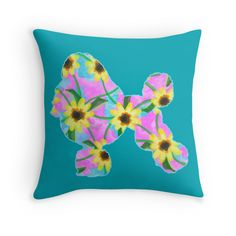 Poodle Watercolor Sunflowers Pattern - Throw Pillow