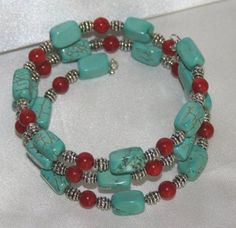 Red Coral and Turquoise Tibetan Silver Beaded Memory Wire Bracelet | 123gemstones - Jewelry on ArtFire