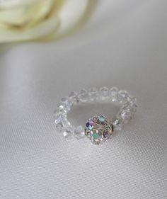 Courtesan Ring   Diamante Bead and Swarovski Crystals. Elasticated.  £4.50