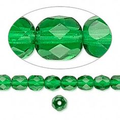 Bead, Preciosa Czech fire-polished glass, emerald green, 6mm faceted round. Sold per 16-inch strand.