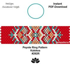 DETAILS: Kalekea #292R Peyote ring pattern - The ring-length is adjustable. Size: 1,75 cm x 6,9 cm / 0.69 x 2.72 - odd count Beads: Miyuki Delica 11/0 >>>>>>>>>>>>> Coupons-codes: <<<<<<<<<<< 10% discount code: 10PERCENTOFF (Minimum Purchase: € 15,00) 15% discount code: 15PERCENTOFF (Minimum Purchase: € 20,00) 20% discount code: 20PERCENTOFF (Minimum Purchase: € 25,00) 25% discount code: 25PERCENTOFF (Minimu...