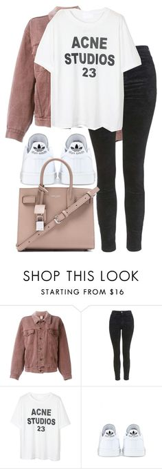 """""""Untitled #2802"""" by elenaday ❤ liked on Polyvore featuring Moschino, Topshop, adidas and Yves Saint Laurent"""