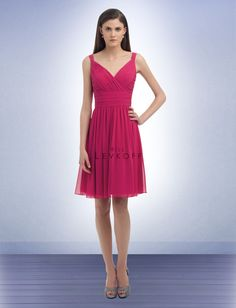 Bill Levkoff #325: Chiffon V-neck cocktail dress. Surplice top with pleats and gathers accenting the bodice and shoulder straps. Ruched cummerbund shapes the waist. Soft gathered skirt.