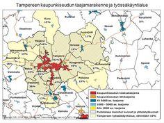 Tampereen kaupunkiseudun taajamarakenne ja työssäkäyntialue> Sissi, Map, City, Location Map, Cities, Maps