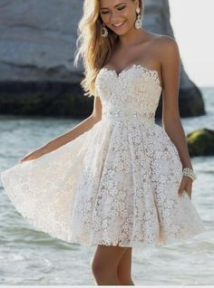 Sweetheart Dress For Party Short Beaded Sash A_line Homecoming Dress Lace Graduation Dress