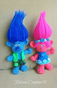 2 Patterns Together -Pdf Crochet Patterns- Poppy and Branch -Trolls  Finished Size: Approximately 10-25 cm tall without Hair  Price is for the PATTERN only, not the finished product.  There is no shipping charge for this item, as it is a PDF file and will be sent almost direct of payment. If you dont receive it within 24 hours, please, contact me.  All patterns are written in standard American terms.  You can always contact me if you have any problems with the pattern. These patterns are…